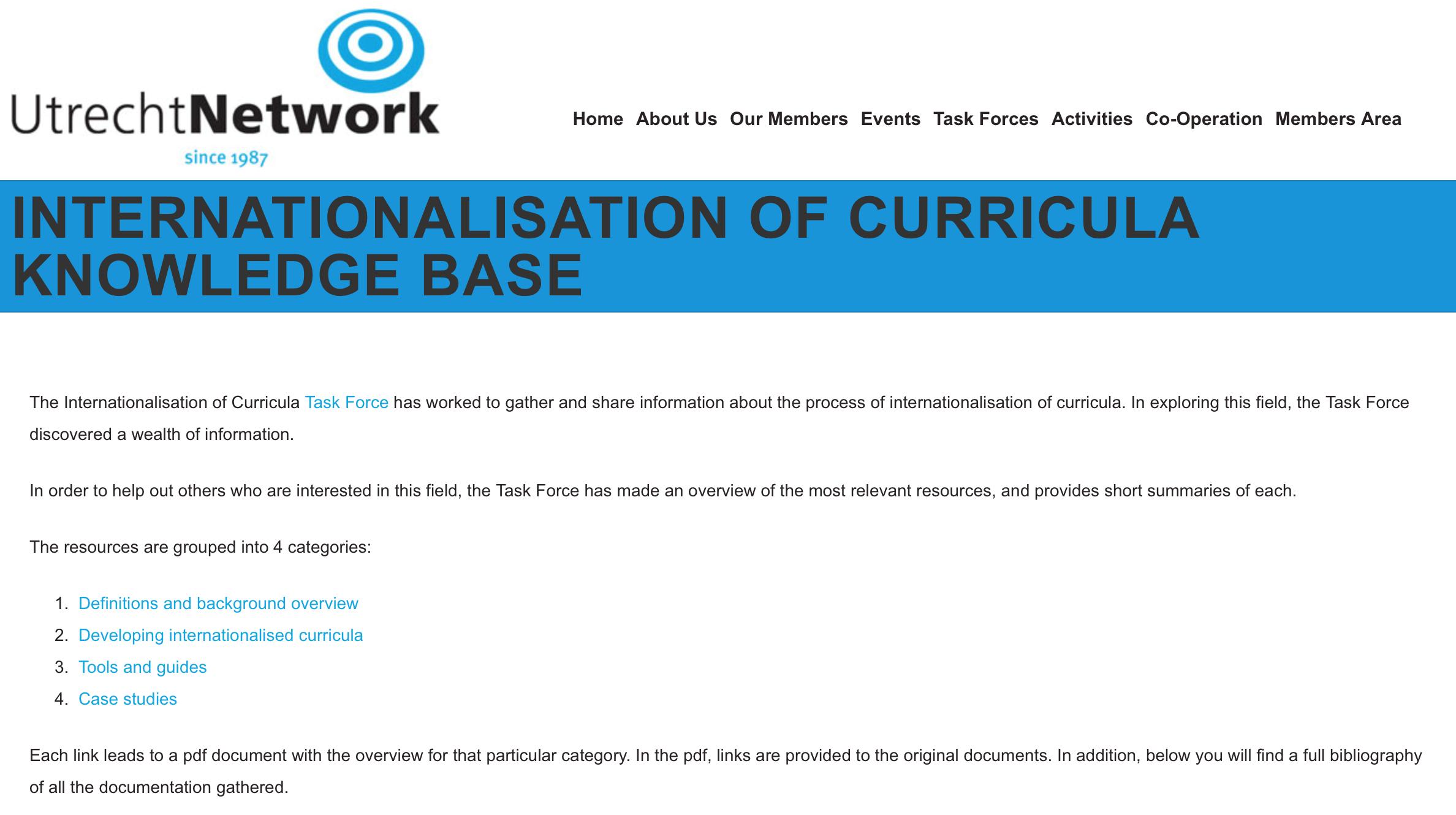 Internationalisation of currucula: Knowledge base